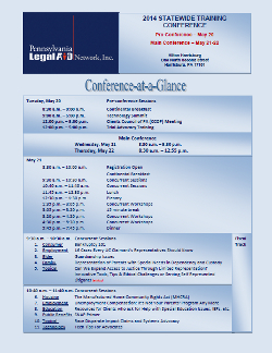 2014 Pennsyvania Legal Aid  Network Conference at a Glance