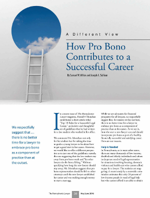A Different View: How Pro Bono Contributes to a Successful Career