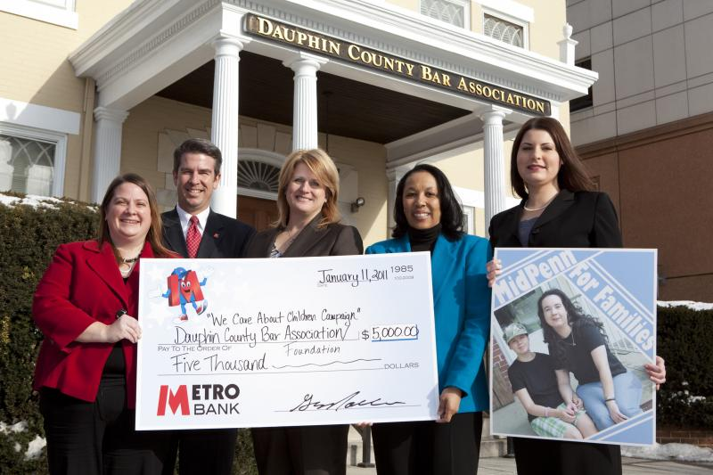 Pictured from left: Metro Bank Store Manager Jeannetta Politis, Metro Bank Retail Market Manager Brad Garfinkel, Dauphin County Bar Association Executive Director Michelle Shuker, MidPenn Legal Services Executive Director Rhodia Thomas and MidPenn Legal Services' newly appointed custody attorney Shana Walter